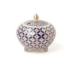 京焼 色絵丸香炉 瑠璃七宝詰