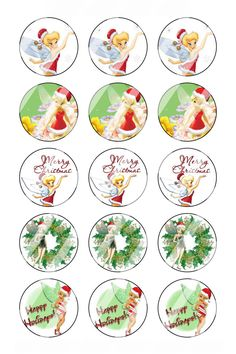 """Tinkerbell Christmas Bottle Cap 1"""" Circle Images Sheet #1 (instant download or pre cut)"""