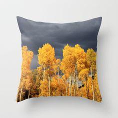 Golden Aspens and an Impending Storm Throw Pillow by The Blonde Dutch Girl - $20.00