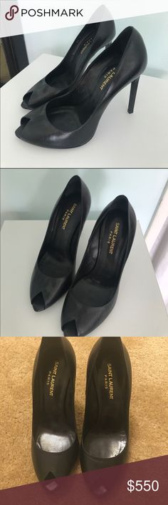 WILLING TO TRADE - Layaway Options Available 😊👍 100% Authentic Peep Toe Saint Laurent Heels - Worn Once - No box/dust bag - Size Stamp 38 - I am a true 7.5 US size and these are a little tight on me 😥 - Best fit US Size 6.5-7 - In great used condition - My entire closet is up for trade/negotiation. If you would like to exchange any item(s) with me, please feel free to send me a message. Thank you in advance 😘 (Local Pick-Up is available in Washington, D.C./Northern VA) Saint Laurent…