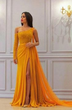 Fitted Prom Dresses, a line yellow one long sleeve chiffon prom dresses high slit formal dresses uk Bey Love Burgundy Homecoming Dresses, Prom Dresses Long With Sleeves, Long Sleeve Formal Dress, Chiffon Dress Long, Long Prom Gowns, A Line Dress Formal, Yellow Formal Dress, One Sleeve Dress, Looks Chic