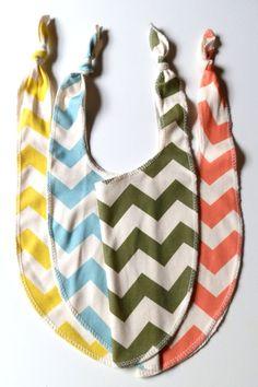 Organic Baby Bibs, Pick 3, Any Color Bright Color Chevron, Organic Bibs