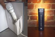 Here's a great idea for a lamp that illuminates from an old book, a DIY book lamp! Of course, don't forget to note that you might want to use low-heat lamps as the bulb could burn the book and set your house on fire. Old Book Crafts, Book Lamp, Light Project, Book Projects, Book Making, Minimalist Home, Lamp Light, Diy Light, Light Fixture