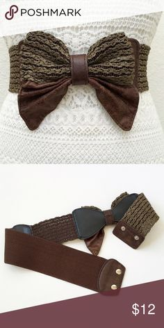 "Wide Stretch Belt w/Woven Accents & Big Bow❤️ No brand. Size: medium. Length: 28 inches, un stretched. Additional two inches when stretched. Colors: mushroom and brown. Elastic band with pleather and woven sections. 3 inches wide at elastic, woven section is 2.5 inches wide and bow is approximately 5"" x 5"". Two snap closure. This item is used and in good condition. Bohemian, fashion, Boho, hippy, weave.❤️ Boutique Accessories Belts"