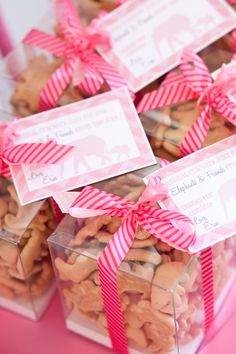Pink Elephant baby shower favor ideas - so cute!