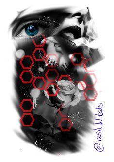 Designed by @ash.w.tats trash polka tattoo design. Eye rose mouth body beautiful art