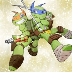 TMNT ~ Mikey & Leo/ Leo kinda looks like Mikey here though....