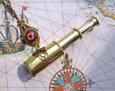 Telescope Spyglass Compass Necklace - Sandrandan Jewelry   http://www.etsy.com/listing/77084462/brass-telescope-spyglass-compass