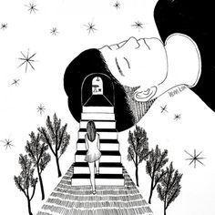 Illustration hand drawn by Henn Kim - Ego - AlterEgo Art And Illustration, Art Pop, Henn Kim, Dream Art, Monochrom, Art Inspo, Art Drawings, Creepy, Cool Art