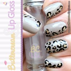 Leopard Print Nails in grey, black and gold nail art design Get Nails, Love Nails, How To Do Nails, Pretty Nails, Fancy Nails, Leopard Nail Art, Leopard Print Nails, Leopard Prints, Pink Leopard