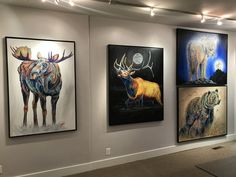 Bullwinkle is a contemporary wildlife painting of a vibrant & colorful bull moose standing in water. You can view more Fine Art Prints on TeshiaArt Collection. Bull Moose, Moose Art, Painting Gallery, Art Gallery, Original Artwork, Original Paintings, Park City, Main Street, Fine Art Prints