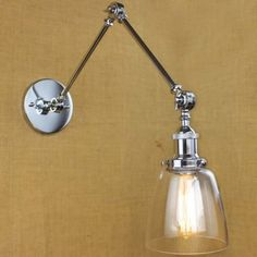 Clear Glass Bowl Shade Chrome 1 Light Mini Wall Sconce