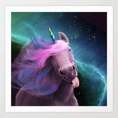 Sassy Unicorn Art Print by Jessica LeClerc Illustration   Society6
