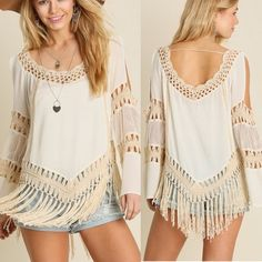 Bohemian Crochet White Cream Top Bohemian crochet cold shoulder cream top. Sizes: S M L. comment below with size and I will create a new listing for you to purchase. Tops