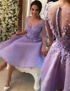 Floral Homecoming Dress, Light Purple Prom Dress,Fashion Homecoming Dress,Sexy Party Dress,Custom Made Evening Dress