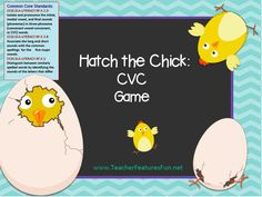 "A very fun (common core) game that can be modified for seasonal play or anytime play. Just decide which set of ""egg"" cards to use- plain or decorated! Your students will ask for this game over and over…mine do!   Hatch the Chick: CVC Game (a, e, i, o, u)"