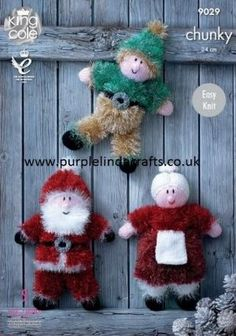 This King Cole Tinsel Chunky knitting pattern leaflet 9029 will instruct you how to create a fun sparkly Santa, Mrs Claus and an Elf out of King Cole Tinsel Chunky yarn. Christmas Tinsel, Christmas Toys, Father Christmas, Christmas Ideas, Tinsel Tree, Christmas Recipes, Handmade Christmas, Chunky Knitting Patterns, Christmas Knitting Patterns
