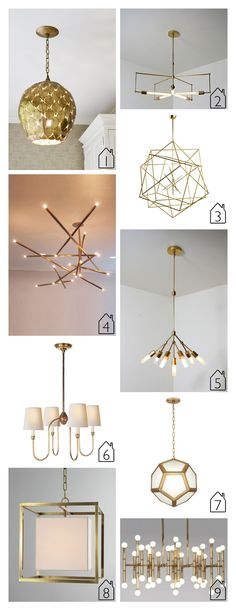 1. Arteriors Osgood Pendant 2. Asterix handmade brass pendant by studioPGRB via Etsy 3. Polyedres by Hubert le Gall via 1stdibs 4. Billy Cotton Pick Up Chandelier 5. Seven handmade brass pendant by studioPGRB via Etsy 6. Visual Comfort Vendome Chandelier by Thomas O'Brien 7. Mary McDonald's Pythagoras Brass Pendant Light via Lighting Luxury Style 8. Visual Comfort Cube Caged Lantern Pendant Light via Horchow 9. Jonathan Adler Meurice Rectangular Chandelier