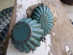 2 Primitive Antique Tin Molds with Very Old Shabby Blue Paint Gorgeous | eBay