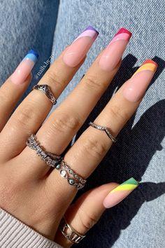 Bling Acrylic Nails, Acrylic Nails Coffin Short, Simple Acrylic Nails, Square Acrylic Nails, Best Acrylic Nails, Acrylic Nail Designs For Summer, Colourful Acrylic Nails, Acrylic Nail Designs Coffin, Coffin Nails Designs Summer