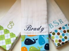 Personalized Monogrammed Baby Boy Burp Cloths by chickamama, $28.50