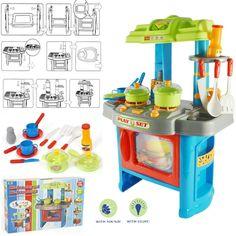 Large 29pc Electronic Toy Kitchen Set Green/Blue Kids Children Play Light Sound
