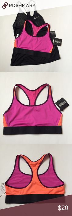 🆕(M) VS Sports Bra NWT Victoria's Secret The Player Racerback Sports Bra, size medium in Pink/Orange Colorblock.  Provides medium support for sports and activities, lightweight and breathable material so you won't feel trapped.   Black band at bottom; gorgeous on trend colorblocking. Bundle and save! Victoria's Secret Intimates & Sleepwear Bras