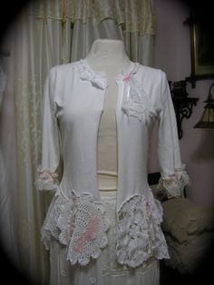 White Doily Sweater shabby n chic cottage by TatteredDelicates, $145.00