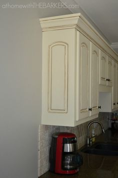 Kitchen Makeover With new paint color. Sherwin Williams Mindful Gray by may Glazed Kitchen Cabinets, Cream Cabinets, Painting Kitchen Cabinets, Kitchen Paint, Kitchen Redo, New Kitchen, Kitchen Ideas, Mdf Cabinets, Antique White Cabinets Kitchen