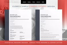 Resume/CV Cover Letter Template Essential Resume - Darius by bilmaw creative on Cover Letter For Resume, Cover Letter Template, Cv Template, Letter Templates, Resume Templates, Design Templates, Resume Layout, Resume Cv, Resume Design