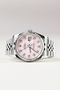 A Rolex Oyster Perpetual Datejust 36 in steel and 18ct white gold with an enchanting pink mother-of-pearl dial, making it naturally unique.'