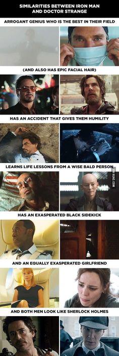 And both men look like Sherlock Holmes!  Iron Man & Dr. Strange