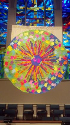 like the image of pointing us to the world--looks a bit like a kaleidescope - everyone can write on a handprint - the colorful center images could be done ahead of time - people add the hands on gratitude sunday. Liturgical Seasons, Prayer Stations, Church Stage Design, Prayer Wall, Church Banners, Christian Kids, Pentecost, Church Crafts, Altar Decorations