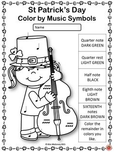 St Patrick's Day color by music symbols.   20 pages in all!!      #musiceducation        #musedchat