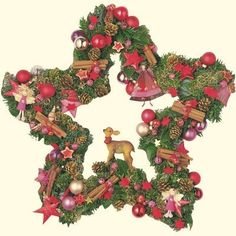 Star Wreath with Ornaments The calendar is 19.5 inches across. The photographic design shows a nice pine wreath in the shape of a star all decorated for the holidays