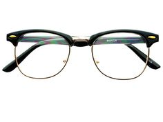 Vintage Style Clear Lens Clubmaster Glasses Black W1052