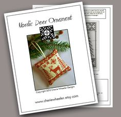 PDF Cross Stitch Pattern for Redwork Nordic Deer by CherieWheeler, $8.00