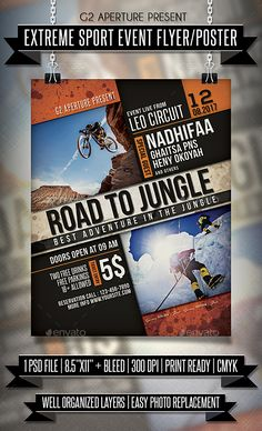Extreme Sport #Event #Flyer / Poster - Events Flyers Download here: https://graphicriver.net/item/extreme-sport-event-flyer-poster/19624229?ref=alena994