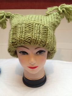 Super Soft Green Hat with tassles Handknitted in  Big Softie  Yarn. Adult  size 1ad82ffe085