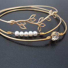 Joyas de Dama de honor conjunto pulsera de perlas de Dama de
