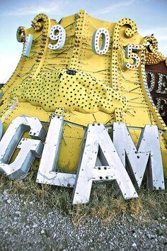 pinterest.com/fra411 #sign yellow glam at the boneyard in las vegas