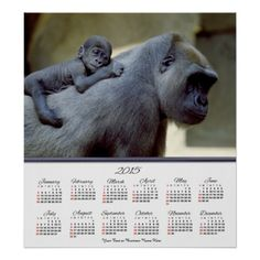 #2015 #Gorilla Mother and Baby #Poster #Calendar