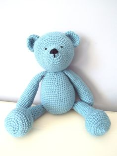 Light blue crochet Amugurumi Teddy Bear. Crochet by NicheOfArt