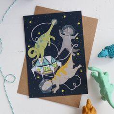Space Dinosaurs Postcard, Childrens Mini Art Print A6, Astronaut Illustration, Spaceman Dinosaurs, Childrens Bedroom Artwork, Unisex Design