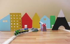cardboard village - easy way to add fun to a plain train set!