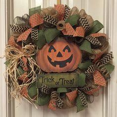Halloween Burlap Wreath, Fall Welcome Wreath, Pumpkin Wreath
