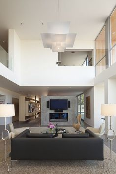 mezzanine with cut out over living area