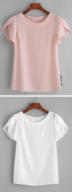 Pink Pleated Cap Sleeve Chiffon Blouse Source by srlsuely Summer Outfits, Casual Outfits, Fashion Outfits, Womens Fashion, Latest Fashion, Women's Casual, Emo Fashion, Fashion Trends, Petal Sleeve