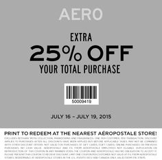 Pinned July 16th: 25% off at #Aeropostale or online via promo code 25OFF #coupon via The #Coupons App