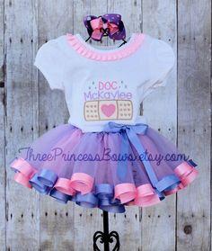 Dr McStuffins Tutu | doctor mcstuffins | Doc McStuffins Ribbon Trim Tutu Embroidered Shirt ...
